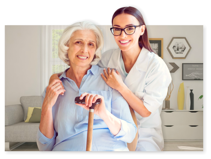 smiling senior woman with her caregiver