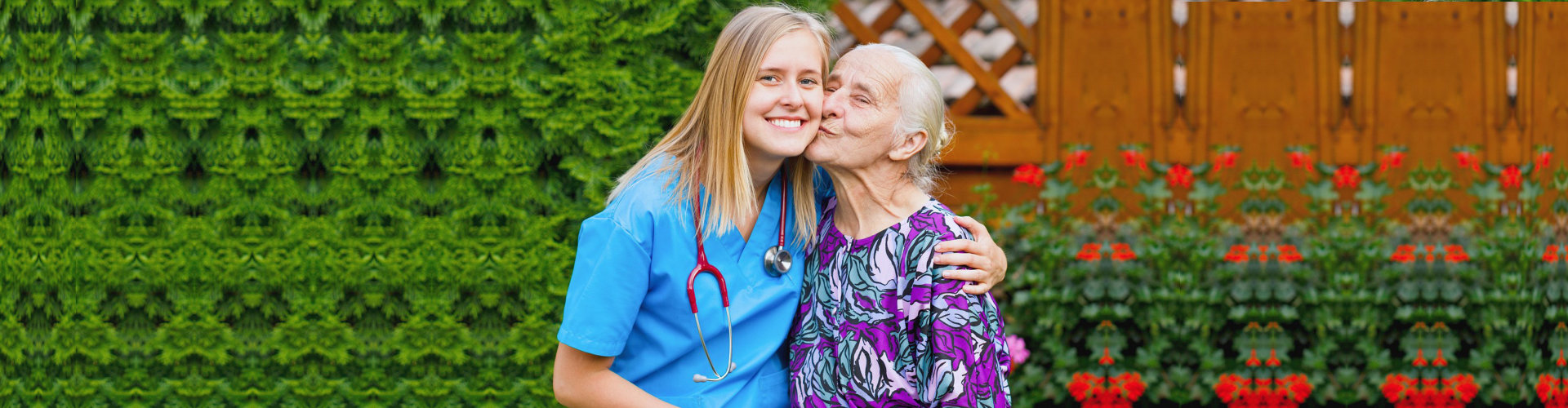 senior woman and her nurse outdoors